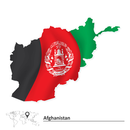 Map of Afghanistan with flag - vector illustration Vector