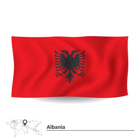 albanie: Drapeau de l'Albanie - illustration vectorielle