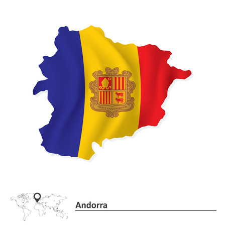 land mark: Map of Andorra with flag - vector illustration Illustration