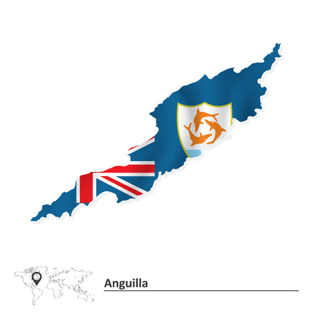 anguilla: Map of Anguilla with flag - vector illustration