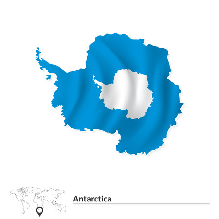 antarctica: Map of Antarctica with flag - vector illustration
