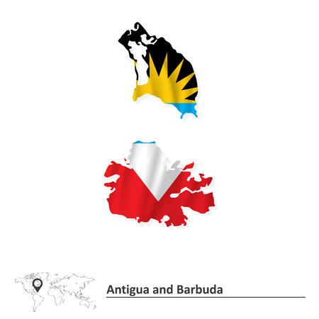 barbuda: Map of Antigua and Barbuda with flag - vector illustration Illustration