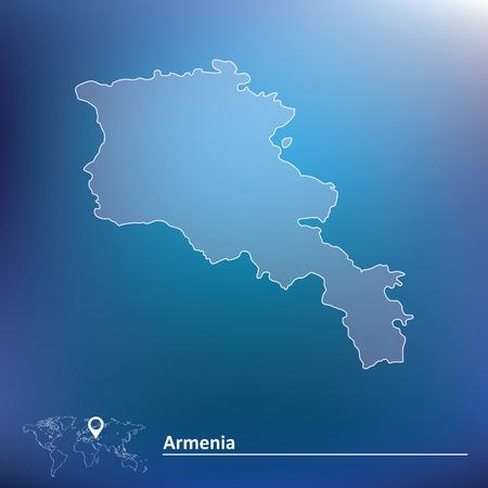 editable eastern asia: Map of Armenia - vector illustration