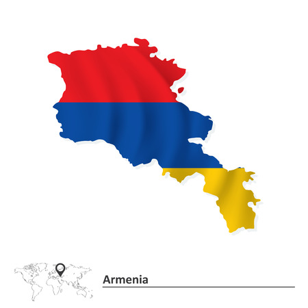 editable eastern asia: Map of Armenia with flag - vector illustration Illustration