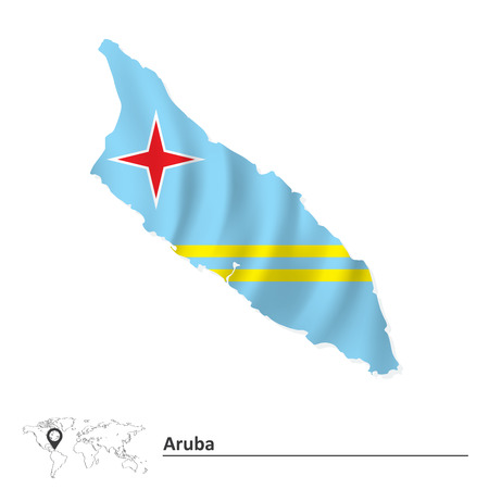 Map of Aruba with flag - vector illustration Vector