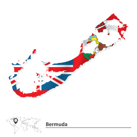 bermuda: Map of Bermuda with flag - vector illustration Illustration