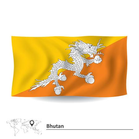 bhutan: Flag of Bhutan - vector illustration Illustration