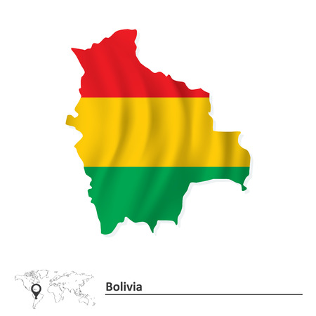 bolivia: Map of Bolivia with flag - vector illustration