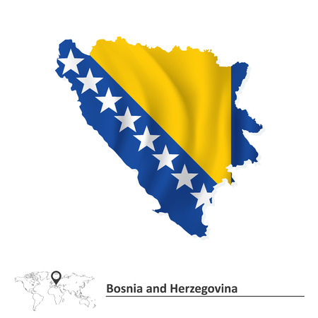 bosnian: Map of Bosnia and Herzegovina with flag - vector illustration