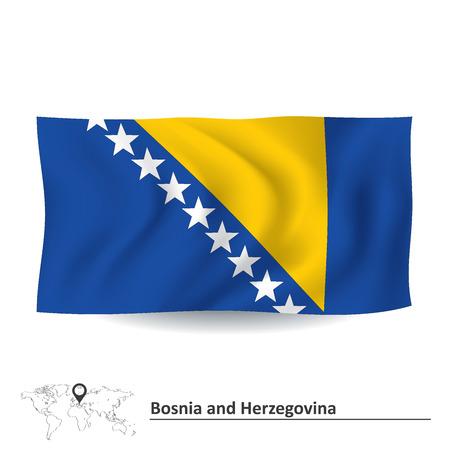 bosnia and herzegovina flag: Flag of Bosnia and Herzegovina - vector illustration