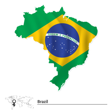Map of Brazil with flag - vector illustration