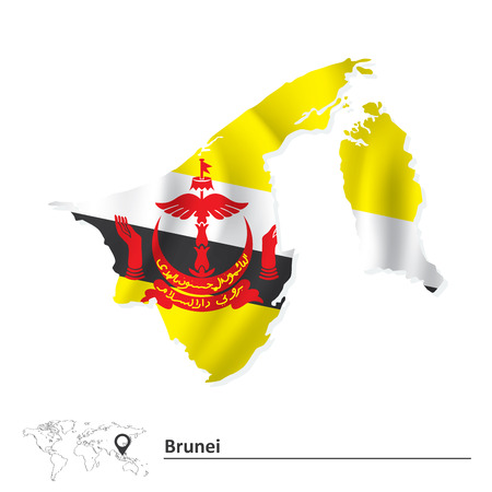 brunei darussalam: Map of Brunei with flag - vector illustration