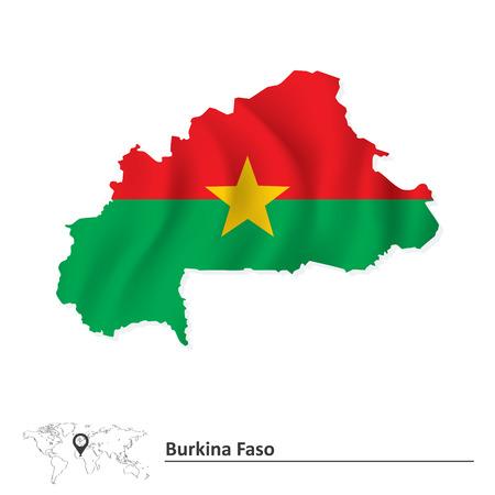burkina faso: Map of Burkina Faso with flag - vector illustration Illustration