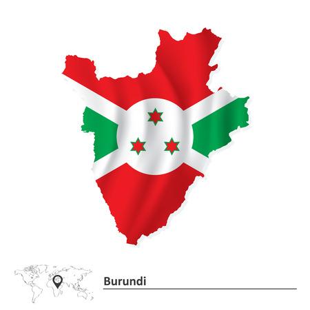 bujumbura: Map of Burundi with flag - vector illustration
