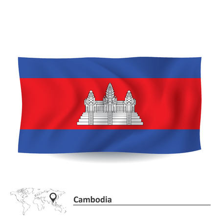 cambodia: Flag of Cambodia - vector illustration