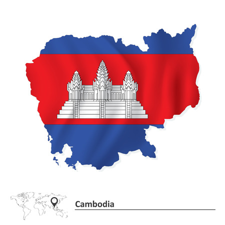 cambodian flag: Map of Cambodia with flag - vector illustration Illustration