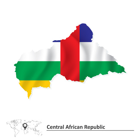central african republic: Map of Central African Republic with flag - vector illustration