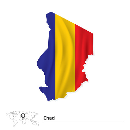 chad: Map of Chad with flag - vector illustration