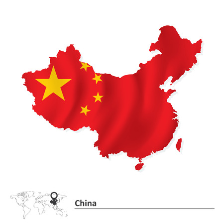 south east asia map: Map of China with flag - vector illustration