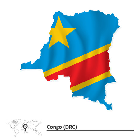 shilouette: Map of Democratic Republic of the Congo with flag - vector illustration