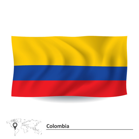 republic of colombia: Flag of Colombia - vector illustration Illustration