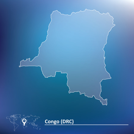 foreign country: Map of Democratic Republic of the Congo - vector illustration