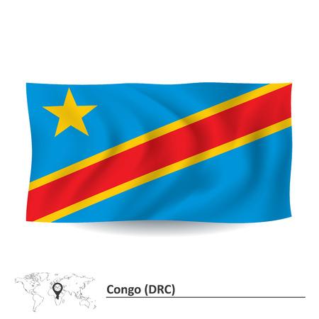 shilouette: Flag of Democratic Republic of the Congo - vector illustration