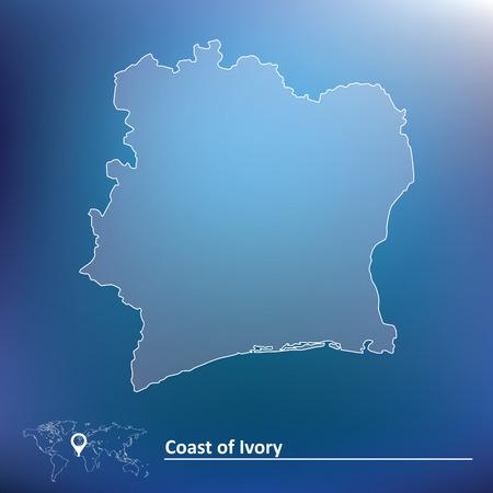 coast: Map of Coast of Ivory - vector illustration