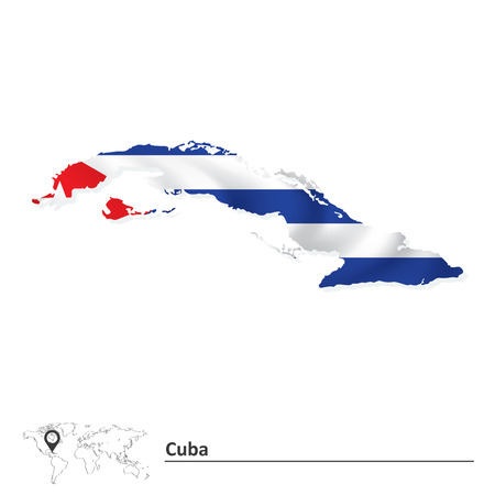 havana cuba: Map of Cuba with flag - vector illustration Illustration
