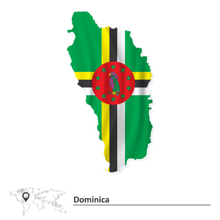 Map of Dominica with flag - vector illustration Vector