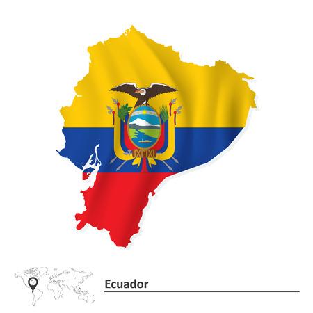 republic of ecuador: Map of Ecuador with flag - vector illustration