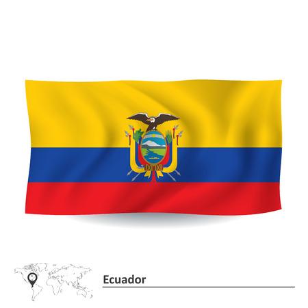 ecuador: Vlag van Ecuador - vector illustratie