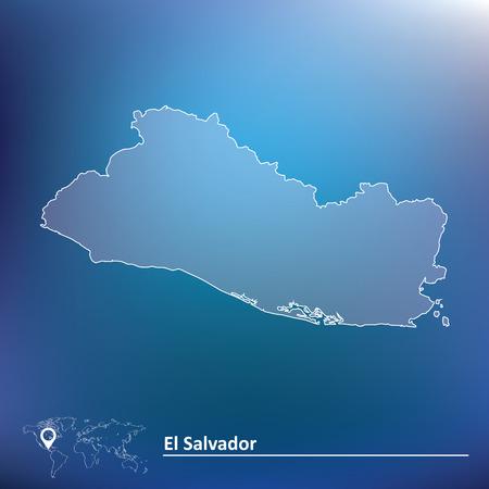 mapa de el salvador: Mapa de El Salvador - ilustración vectorial