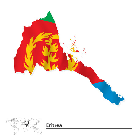 eritrea: Map of Eritrea with flag - vector illustration