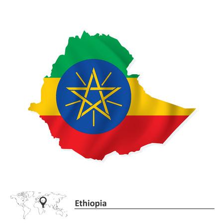 ethiopia: Map of Ethiopia with flag - vector illustration
