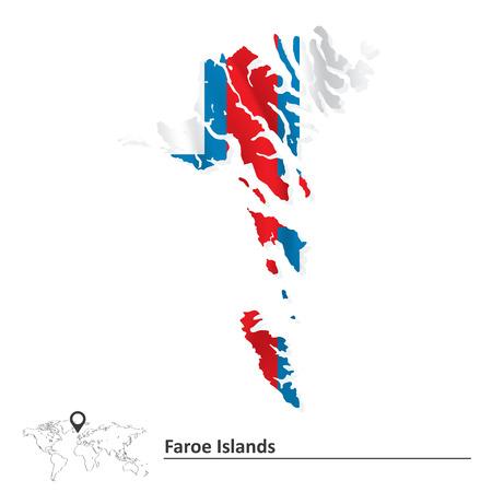 atlantic city: Map of Faroe Islands with flag - vector illustration