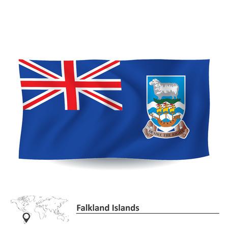 falkland: Flag of Falkland Islands - vector illustration