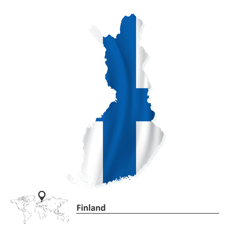 suomi: Map of Finland with flag - vector illustration