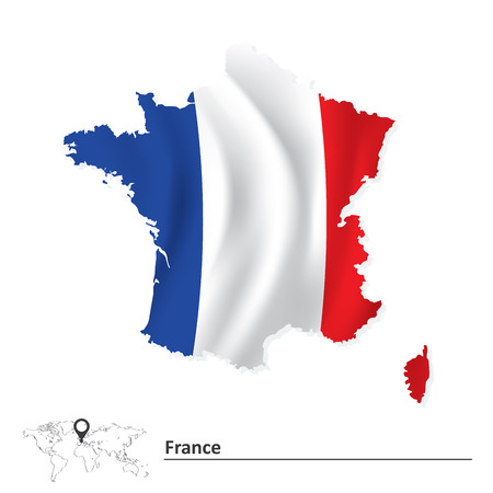 Map of France with flag - vector illustration Vector