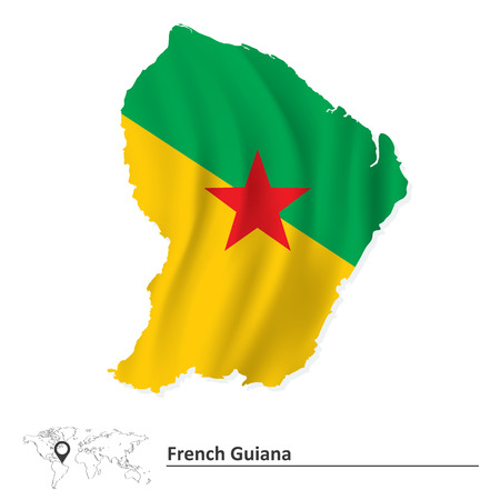 Map of French Guiana with flag - vector illustration Vector