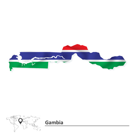 gambia: Map of Gambia with flag - vector illustration