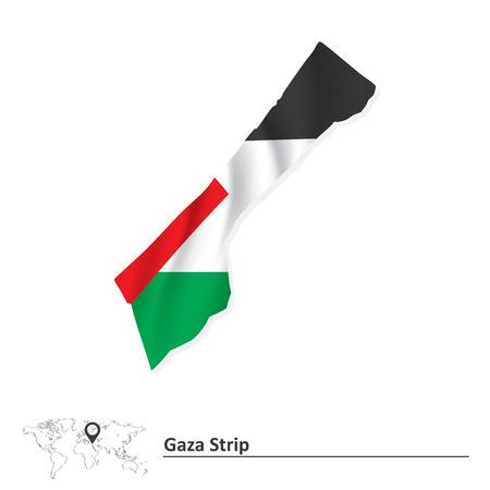 gaza: Map of Gaza Strip with flag - vector illustration