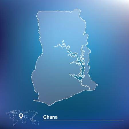ghana: Carte du Ghana - illustration vectorielle