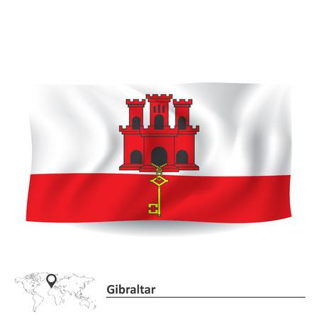 gibraltar: Flag of Gibraltar - vector illustration