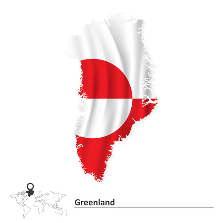Map of Greenland with flag - vector illustration Vector