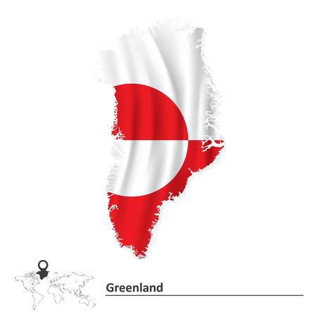 greenland: Map of Greenland with flag - vector illustration Illustration