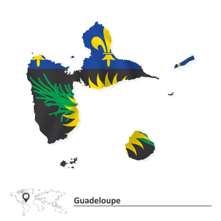 guadeloupe: Map of Guadeloupe with flag - vector illustration Illustration