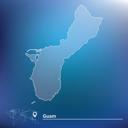 guam: Map of Guam - vector illustration
