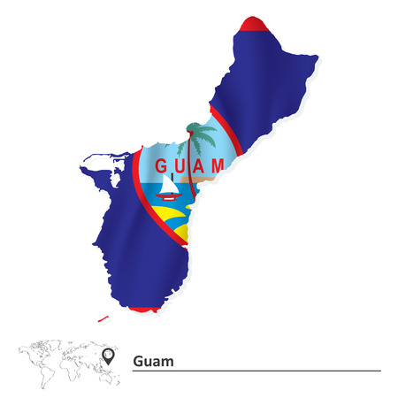guam: Map of Guam with flag - vector illustration