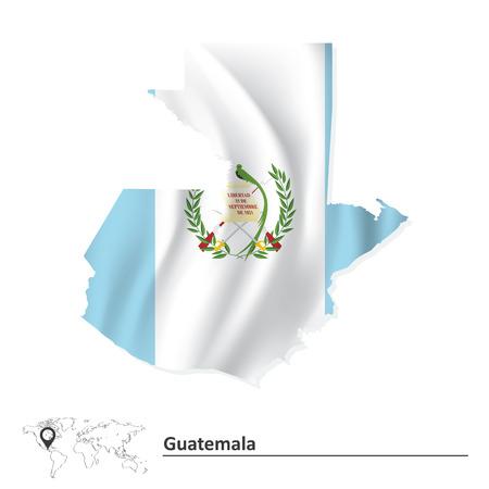 guatemala: Map of Guatemala with flag - vector illustration